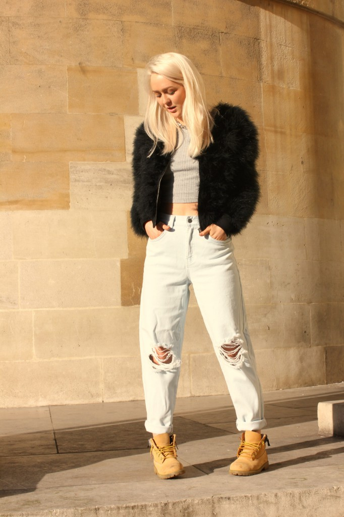 topshop_marabou_feather_bomber_jacket_boutique_mom_jeans_timberland_boots_ribbed_vest_asos