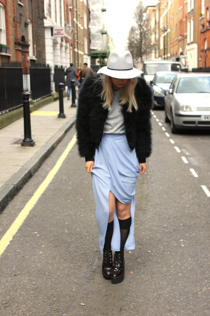 love_asymmetric_skirt_topshop_marabou_feather_bomber_jacket_underground_wedge_boots_cheap_monday_tee_london_street_style