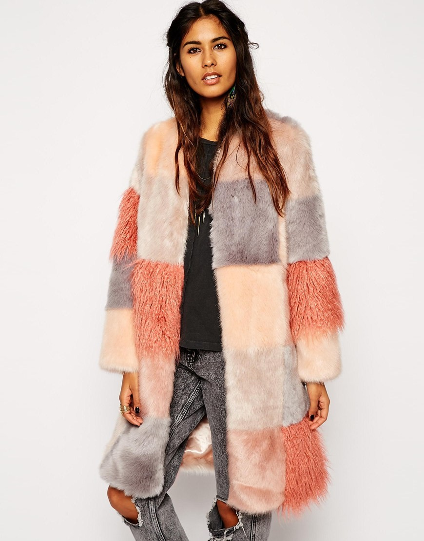 ASOS Fur Patchwork Coat