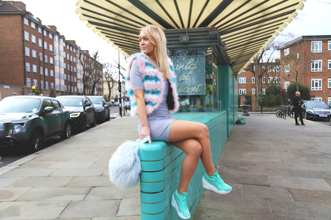 charlotte_simone_bon_bon_bag_blue_topshop_marabou_feather_gilet_pastel_puma_trinomic_wegde_mint_trainers_missguided_jersey_dress