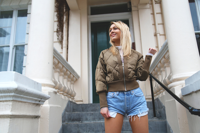 topshop_bronze_padded_bomber_jacket_gold_velcro_sneakers_vintage_denim_levi_shorts_seven_violets_sheer_polo_neck_top