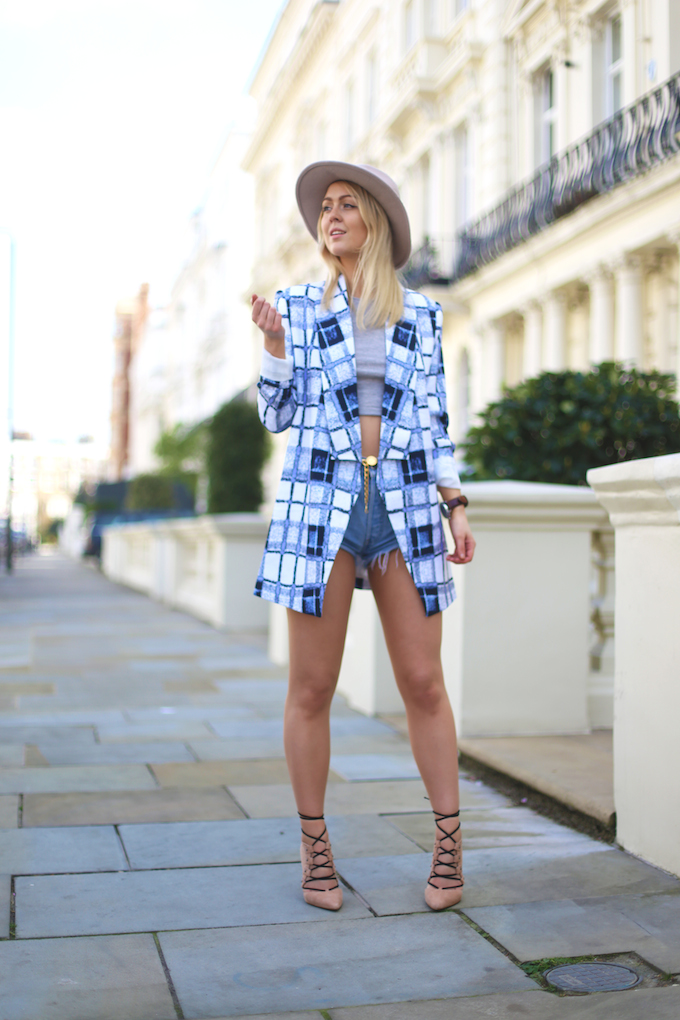 finders_keepers_blue_check_blazer_topshop_ghillie_suede_heels_denim_shorts_chanel_belt_river_island_fedora_pie_and_fash