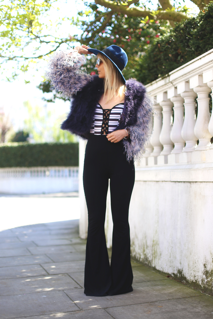 millie_mackintosh_feather_jacket_missguided_flares_trousers_oh_my_love_striped_body_daisy_keens_pie_and_fash_blog