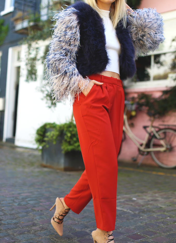 asos_ankle_grazer_orange_trousers_topshop_ghillie_heels_millie_mackintosh_feather_jacket_ribbed_vest_daisy_keens_pie_and_fash_blog