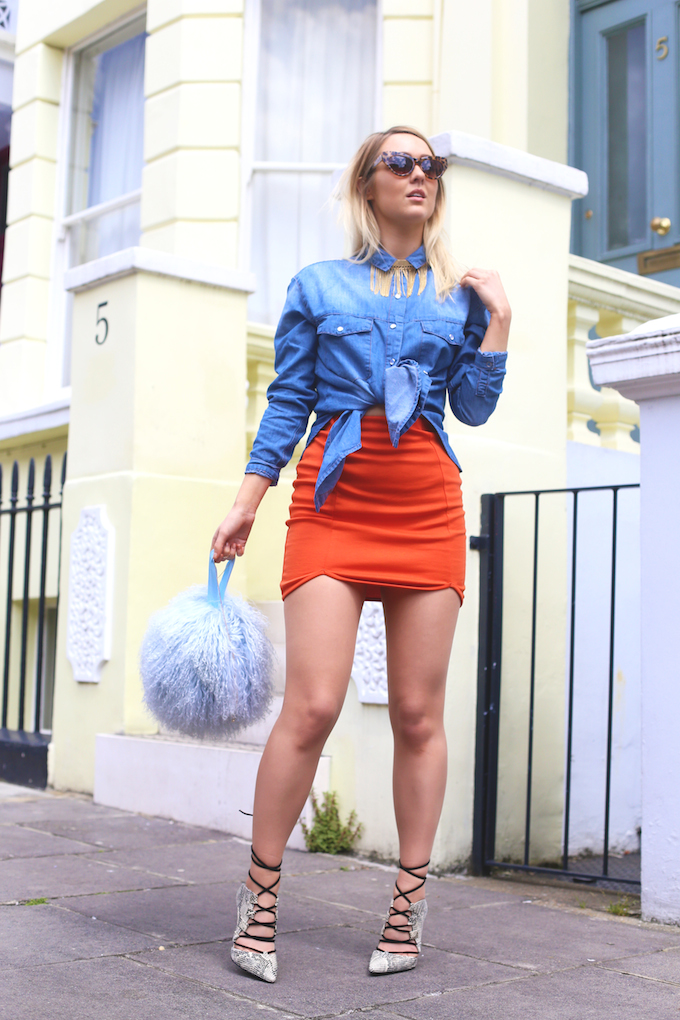 topshop_ghillie_snakeskin_heels_missguided_denim_shirt_orange_mini_skirt_charlotte_simone_bon_bon_bag_pie_and_fash