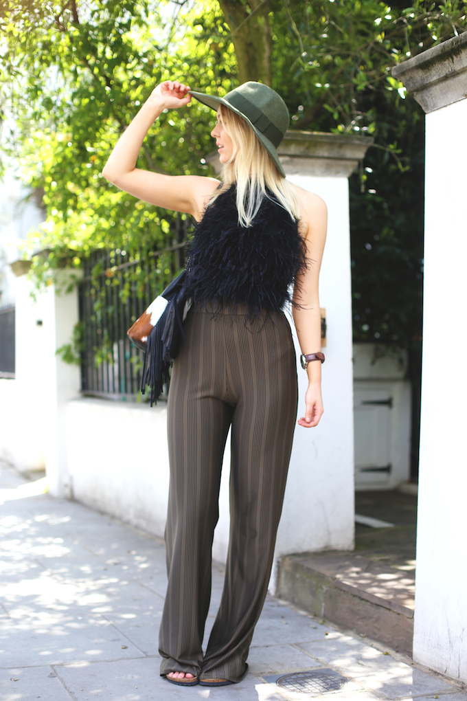 missguided_feather_crop_top_green_flares_black_arizona_birkenstocks_catarzi_fedora_cow_print_bag_pie_and_fash