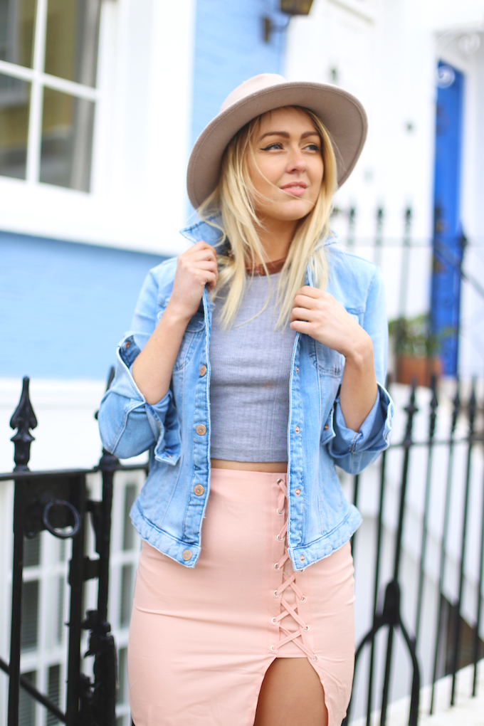 topshop_ghillie_suede_heels_lace_up_skirt_missguided_denim_jacket_zara_asos_fedora_pie_And_fash