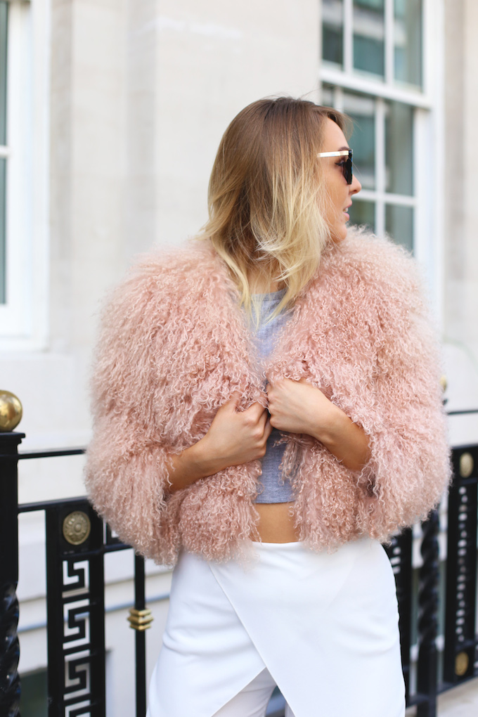 asos_wrap_front_white_trousers_topshop_pink_mongolian_fur_cat_eye_sunglasses_topshop_ghillie_snake_heels_pie_and_fash