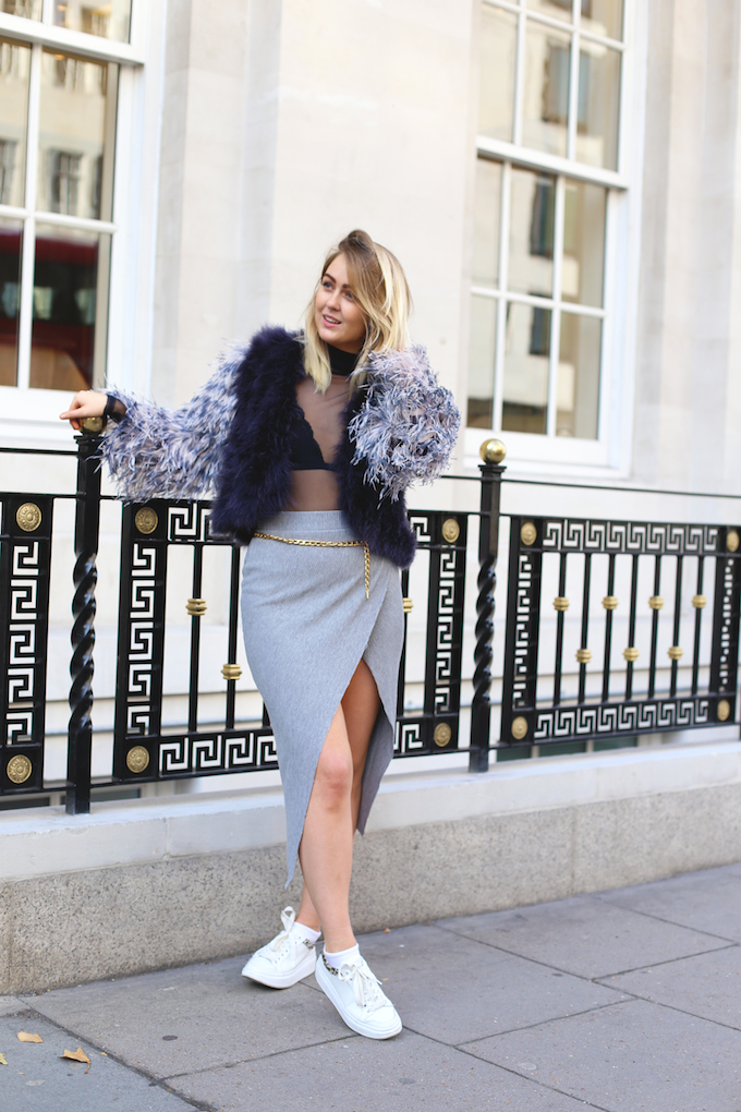 asos_ribbed_grey_skirt_gold_chanel_belt_millie_mackintosh_feather_jacket_lace_bralet_pie_and_fash_blog