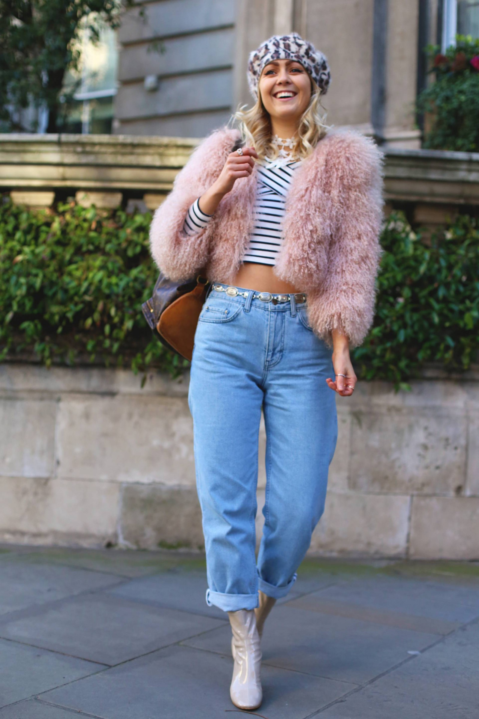 topshop_boutique_boyfriend_jeans_bardot_Stripe_top_mongolian_pink_fur_jacket_leopard_print_beret_louis_vuitton_backpack