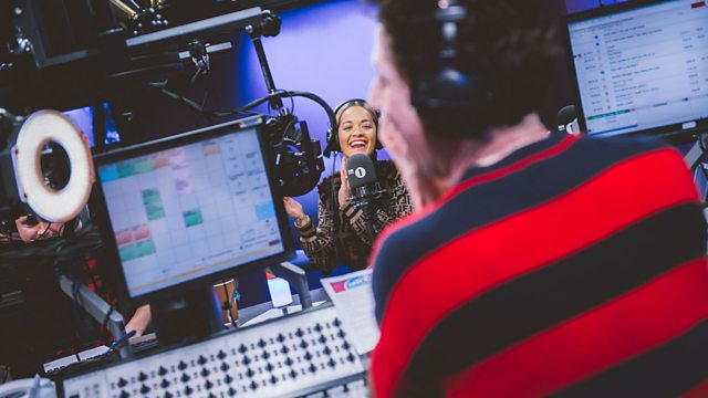 Nick Grimshaw and Rita Ora in the Radio 1 studio.